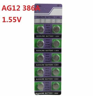 10X Batteries AG12 L1142 LR43 386A SR43 Coin Button Cell Battery Watch camera ^