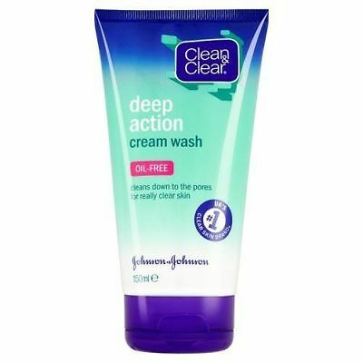 Clean and Clear Deep Action Oil-Free Cream Wash 150ml New