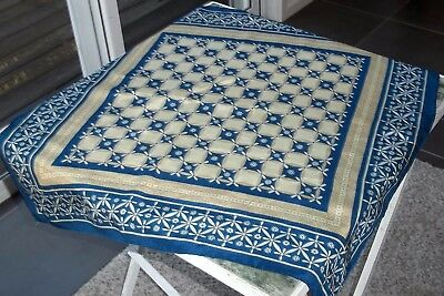 Vintage Jaeger Silk Neckerchief Scarf Small Square 65cm Blue Gold Unisex Rolled