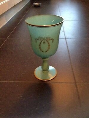 Vase Murano opaline calice turquoise décor guirlandes or