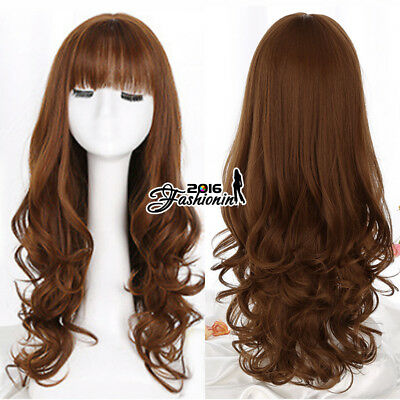 Halloween Basic Lolita 65CM Long Curly Brown Cosplay Full Wig Heat Resistant