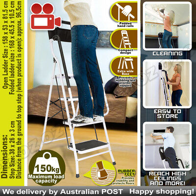 Step up more safely & securely - fold out steel ladder with oversized steps