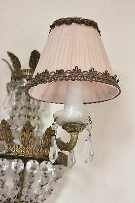 Vintage Shabby Pink Gathered clip on lampshades x FOUR