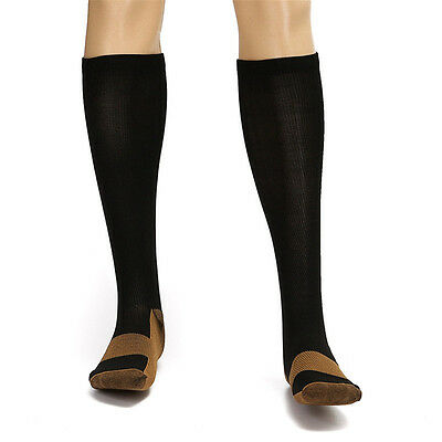 Copper-Infused Compression Socks Knee High Unisex Anti-Odor Nursing Sockings OZ