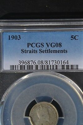 STRAITS SETTLEMENTS 5 Cents 1903 Silver PCGS VG08