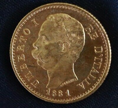 1881 GOLD Italy 20 Lire Coin - UMBERTO I  (R) Rome Mint - BU(?)  (A2969)