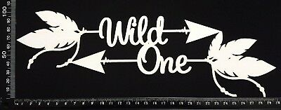 White Chipboard - Wild One - Large Boho word arrow