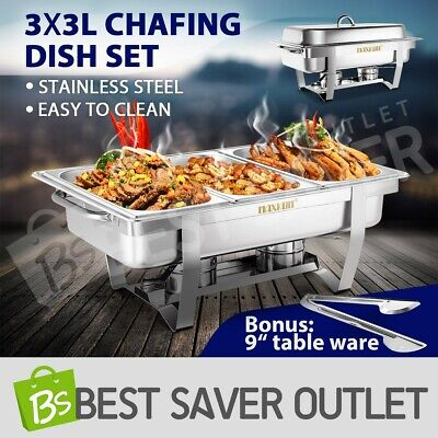 Bain Marie Bow Chafing Dish 3Lx3 Stainless Steel Food Buffet Warmer Stackable 9L