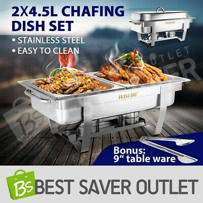 Bain Marie Bow Chafing Dish 4.5Lx2 Stainless Steel Buffet Food Stackable Set 9L