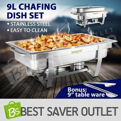 Bain Marie Bow Chafing Dish Stainless Steel Food Buffet Warmer Stackable Set 9L