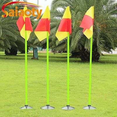 4pcs Speed Agility Training Poles With Turf Base 2 Section Trainer Flags Yellow