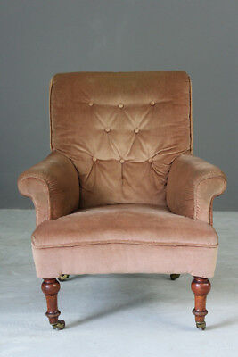 Antique Edwardian Upholstered Button Back Arm Chair