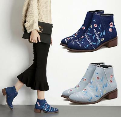 Womens Denim Embroidery Canvas Ankle Boots Round Toe Block Chunky Heel Shoes