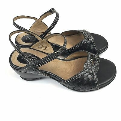 Clarks Artisan Women's Black Woven Leather Strap Slingback Wedge Sandals Size 7M