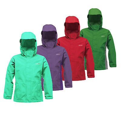 Regatta Greenhill Boys Girls Kids Waterproof Concealed Hood Jacket Coat