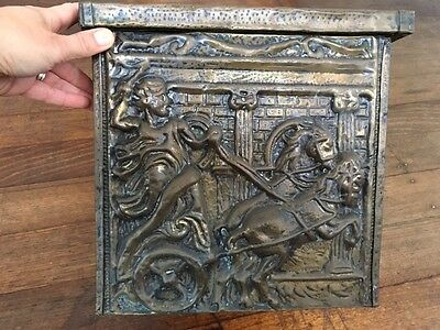 Vintage Pressed Brass Firewood Box Gladiator Horses Fireplace Winter Home Decor