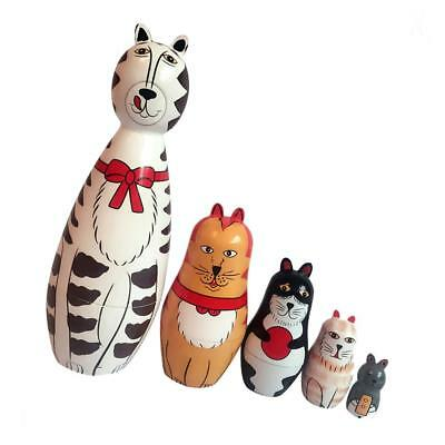 5pcs Cute Animal Painted Wooden Russian Doll Nesting Babushka Doll Kids Gift