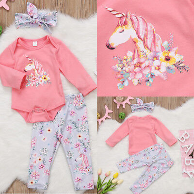AU Stock Newborn Baby Girls Top Romper Long Pants Headband Outfits Clothes 0-18M