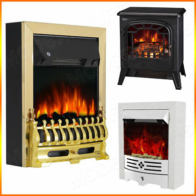 Modern Electric Fireplace 1.8/2KW LED Fire Place Effect Heater Fire Flame Stove