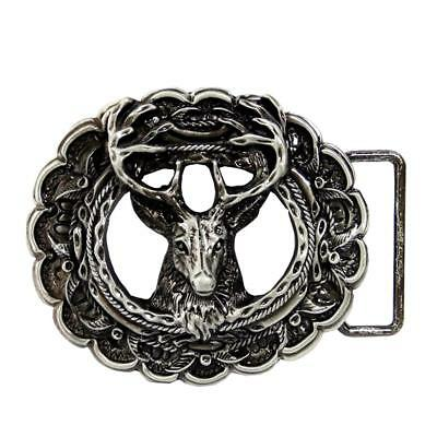Retro Antique Silver Nordic Elk Deer Buck Metal Belt Buckle Western Cowboy