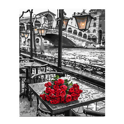 Canvas Paint By Numbers Kit Oil Painting DIY Red Rose No Frame Home Decoration