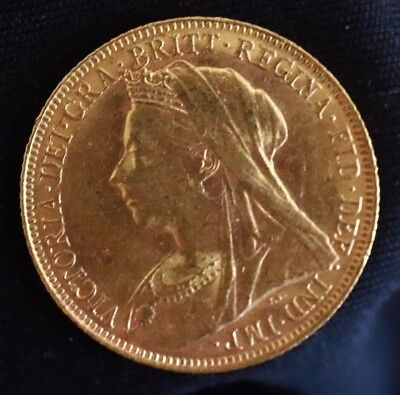 1901-M GOLD Full Sovereign VICTORIA VEILED HEAD - Melbourne Mint  (A2971)