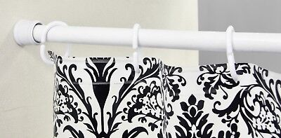 White Steel Non-Rust Extendable Telescopic Shower Curtain Rail Pole 104-183cm