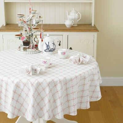 Hearts & Kisses 147cm Round Pink and White Cotton Floral Tablecloth