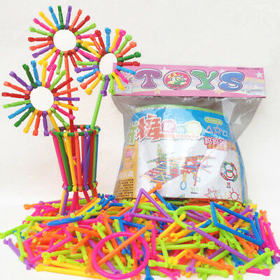 256Pcs Baby Plastic Intelligence Sticks Educational Building Blocks Toys Set