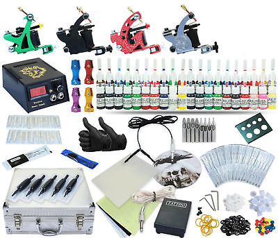 Pr Tattoo Kit 4 Machine Gun Set Power Supply TKA-1-4 40 inks (black case)
