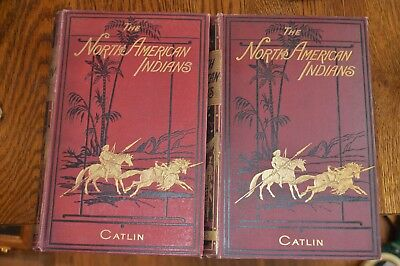 The North American Indians by George Catlin Vol. 1 & 2 Published 1903 Rare books