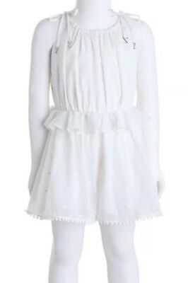 ZIMMERMANN | Sz 8yrs | Girls Roza Gathered Cotton Embroidered Playsuit | White