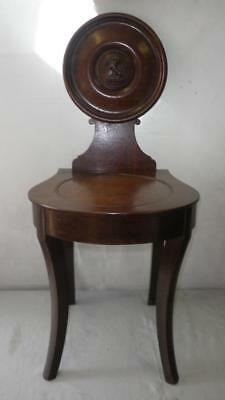 """Antique Wooden Hall Chair With Carved Heraldic Lion Symbol 34"""" x 15"""""""