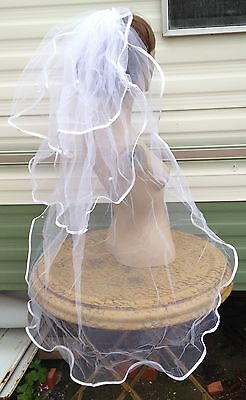 """white bridal veil wedding dress pearl beads 3 tiers comb 40"""" long BRAND NEW"""