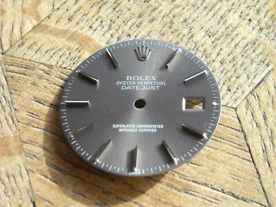 Used Genuine Grey ROLEX DIAL for DATEJUST 16XXX series.