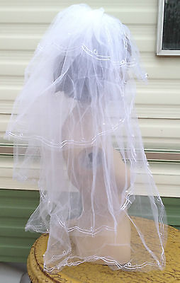 """white bridal veil wedding dress pearl beads 4 tiers comb 30"""" long BRAND NEW"""