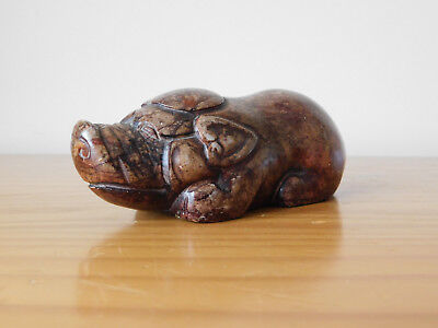 c.18th - Antique Chinese SoapStone Carved Pig Figure Figurine Qing