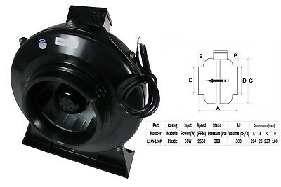 """Quality In-line Duct Co-Axial Pipe Fans 230v 2 Pole 100mm 4"""" Plastic Inline"""