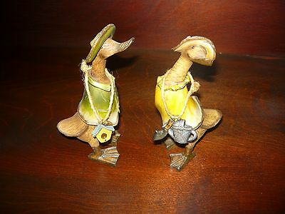 Set of (2) Whimsical Decorative Wooden Ducks; Free Shipping