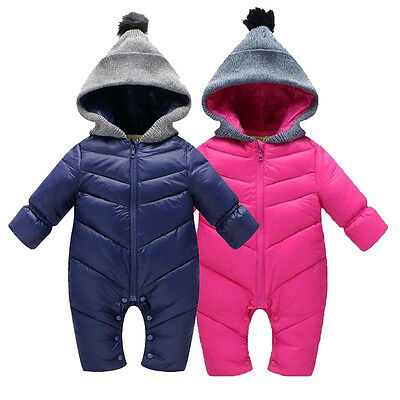 Winter Newborn Baby Boy Girl Romper Warm Overall Hooded Bodysuit Clothes Outwear