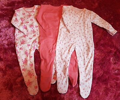 Baby Girls 3 Pack Baby Grows, Size 6-9 Months, New
