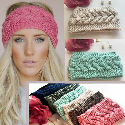 UK Ladies Knitted Ear Warmer Headband Crochet Hat Wool Winter Beanie Empty Skull