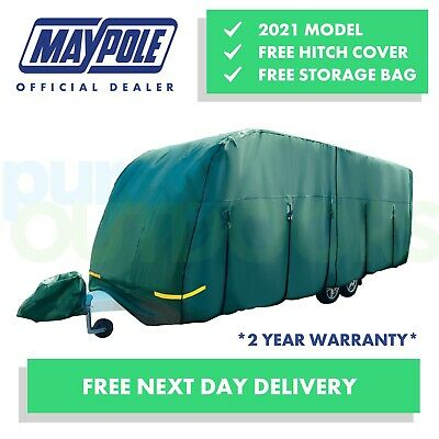 Maypole Premium 4-Ply Breathable Green Full Caravan Cover - Fits 14-17ft MP9532