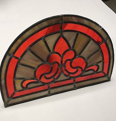 Antique Red and Ivory Stained Glass Half Round Window Chrurch