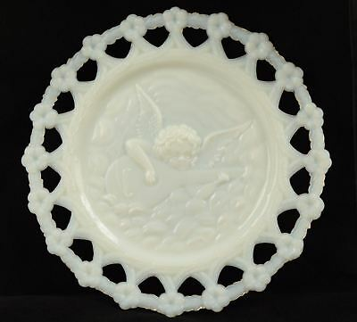 Beautiful Old Milk Glass Plate Reticulated with Angel Playing Music