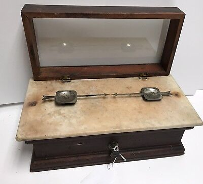 Henry Troemner NO. 12 Antique Apothecary and Pharmacy Scale Oak and Marble