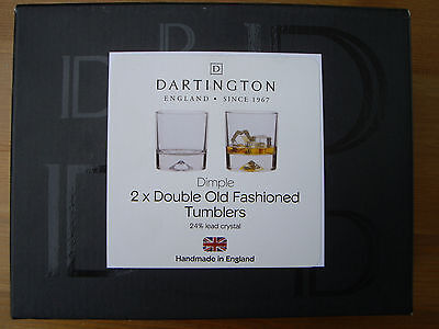 Dartington 2 X Dimple Double Old Fashioned Whisky Glasses (BOXED)