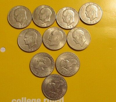 Eisenhower Dollar 10 Coin Lot- $10 Face Value-Huge Hoard Discovered