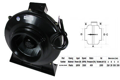 """Quality In-line Duct Co-Axial Pipe Fans 230v 2 Pole 200mm 8"""" Plastic Inline"""