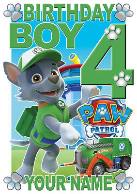 """Rocky Paw Patrol Age Personalized Iron On Transfer 5x5.25/"""" LIGHT Colored Fabric"""